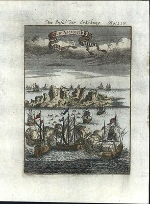 Ascension Island South Atlantic ships 1719 charming antique engraved view print