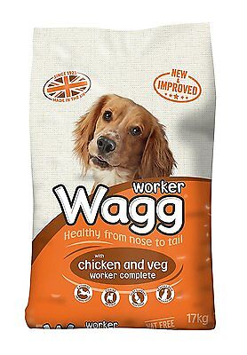 Wagg Complete Worker Dry Mix Dog Food Chicken and Vegetables, 17kg - Free