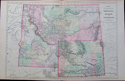 Montana Idaho Wyoming western US 1887 large detailed fine antique map hand color