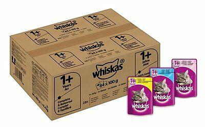 Whiskas Wet Cat Food 84 X 100 G Pouch For 1+ Adult, Mixed Sel In Jelly- Free Del