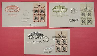 3 FDCs 1938 #832-834 PREXY PREXIE MATCHED SET $1-$5 PLATE BLOCKS FARNAM CACHET