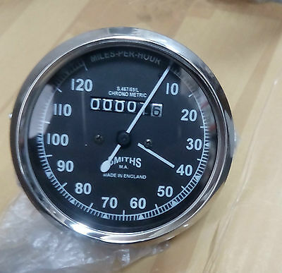 Vintage Smiths Black Speedometer Bsa Royal Enfield Norton 0-120 Mph Brand New