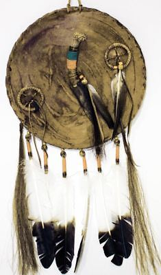 Native American Navajo Leather WAR Shield with Flint Knife and Medicine Wheels