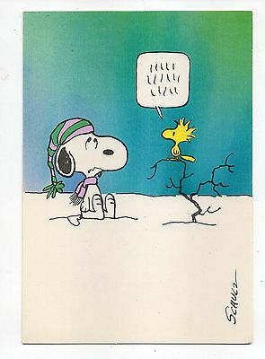 Vintage Hallmark Christmas Greeting Card Snoopy Woodstock Peanuts 1980's