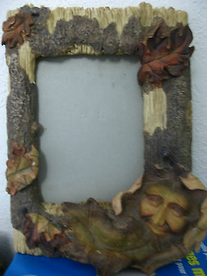 "COMPOSiTE 4 1/2"" x 6 1/4"" PICTURE PHOTO FRAME TREE BARK LEAF FACE STAND ALONE"