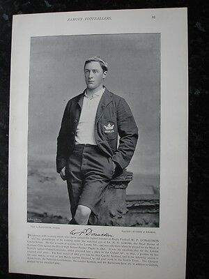 RARE Original Famous Footballers, #081 W.P.Donaldson, OXFORD Rugby 1895 - 96