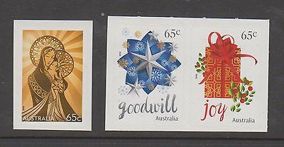 Australia 2016 Christmas set 3 of 65c booklet stamps