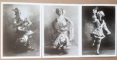 LOT OF 3 PHOTOGRAPHIC REPRODUCTION POSTCARDS OF BALLETS RUSSES Nijinsky
