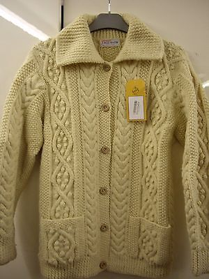 Beyond Retro Womens  100% Pure Wool Cream Natural Aran Knit Cardigan Small