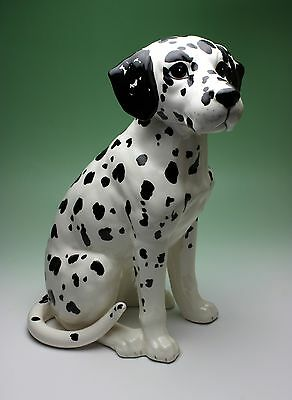 12 Inches High Sitting Dalmatian Statue Large Size Porcelain Dog Figurine Japan