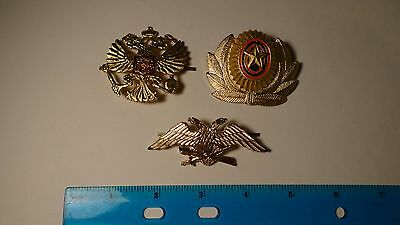 Lot of 3 Russian Federation Military hat badges, pins