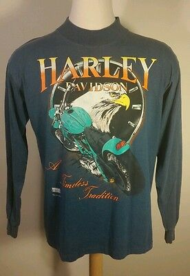 Vtg 90's Harley Davidson Soft Tail Motorcycle Long Sleeve T Shirt Eagle Large