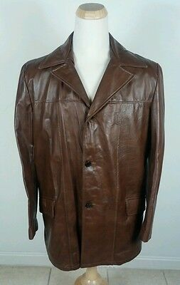 a2f72f8806b Vintage Brown Leather Jacket Zip Liner Sears 42 Tall Mod Retro Disco OG