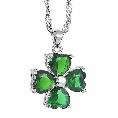 Ladies Beautiful White Gold And Emerald Four Leaf Clover Pendant Necklace Chain.