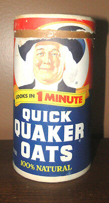 VINTAGE Quick QUAKER OATS BOX CARDBOARD CANISTER 1987 1980S CLASSIC
