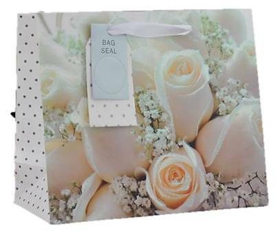 "Extra Large Wedding Day Gift Bag - Landscape Big White Glitter Roses 13"" x 18"""