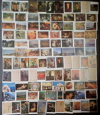 LOT OF 100 ART POSTCARDS OF 19th CENTURY PAINTINGS