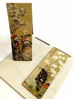 Set of 2 Beautiful Chinese Ancient Painting Magnetic Bookmark White Flower Plant