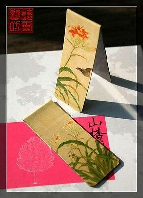 Set of 2 Beautiful Chinese Ancient Painting Magnetic Bookmark Orchid Flower
