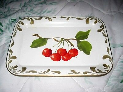 Hand Painted Red Cherries Vintage White Metal Tole Mid Century Kitchen Tray