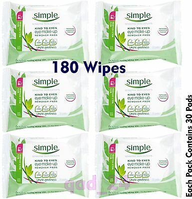 180 Simple Makeup Eye Remover Wipes - Facial Face Pads Cleansing Skin Mascara