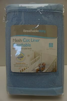 Breathable Baby Mesh Cot Liner For Cots With Solid Ends Blue New