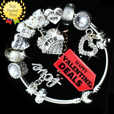"PANDORA Silver Bracelet with ""Love Story"" WIFE White European Charms Holiday New"