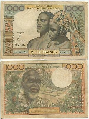 GB358 - Banknote French Westafrican States 1000 Francs 1961 A Côte d'Ivoire