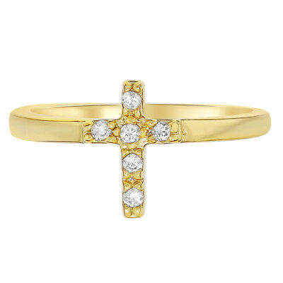 18k Gold Plated Cross Clear Crystal Religious Baby Rings