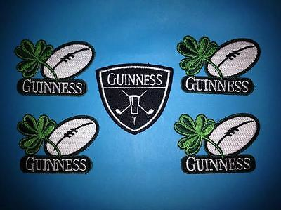 5 Lot Guinness Irish Beer Clover Rugby Ball Iron On Hat Jacket Patches Crests G