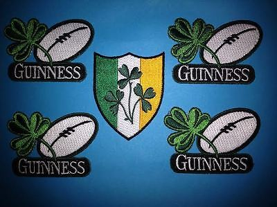 5 Lot Guinness Irish Beer Clover Rugby Ball Iron On Hat Jacket Patches Crests F