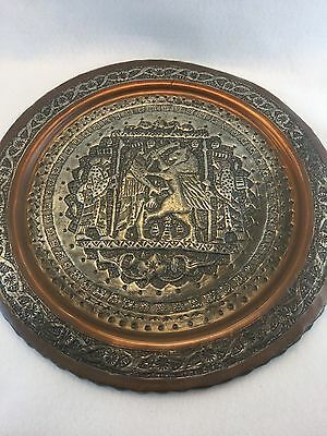 Large Copper and Silver Washed Middle Eastern Charger