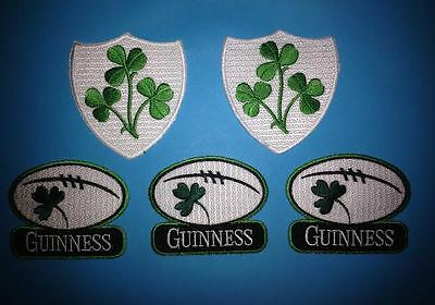 5 Lot Guinness Irish Beer Clover Rugby Ball Iron On Hat Jacket Patches Crests A