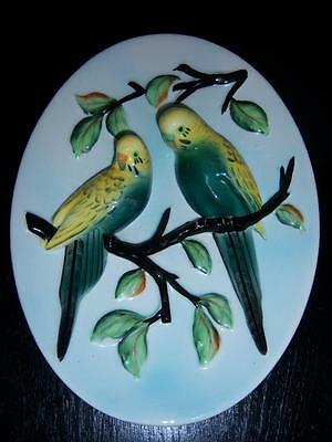 Vintage Napco Parakeet Bird Oval Wall Plaque 3D Budgies Pair on Branch