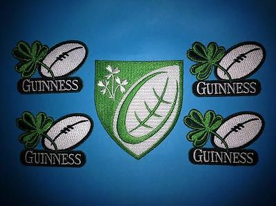 5 Lot Guinness Irish Beer Clover Rugby Ball Iron On Hat Jacket Patches Crests H