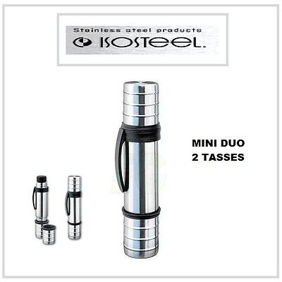 Thermos portable ISOSTEEL bouteille isotherme clip CAMPING 2 tasse mini duo AUTO