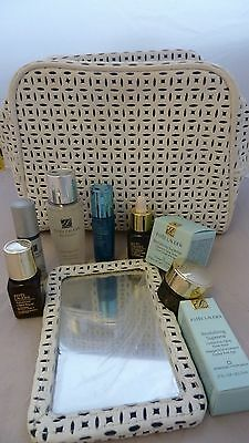 Estee Lauder Cosmetic Bag And Mirror + 8 Items . New
