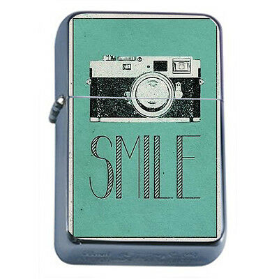 Vintage Poster D1 Windproof Dual Flame Torch Lighter Retro Camera Art Smile