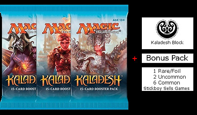 Kaladesh Draft Pack - 3 x NEW and SEALED MtG Boosters + BONUS Prize pack