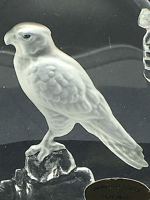 Wedgwood Clear Glass Bird of Prey Flat Paperweight Signed under