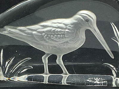 Wedgwood Clear Glass Woodcock or Snipe Flat Bird Paperweight Signed under
