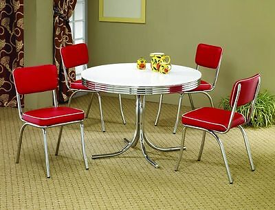 Retro 5Pc Round Dining Room Kitchen Red Chairs 50's Style Chrome