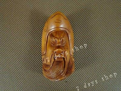 Chinese Old Boxwood Carved Guan Gong Yu Statue Wood Sculpture Pendant W295