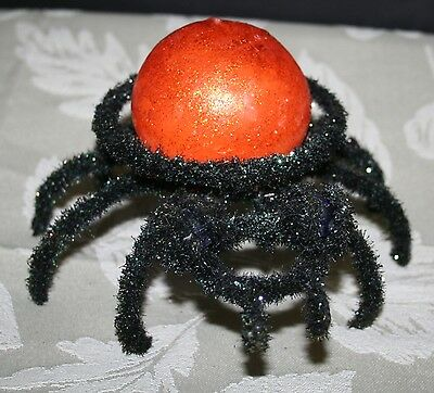 Halloween Spider Decoration Candle & Candle Holder MINT!