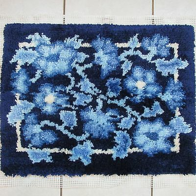 Blue Floral Completed Latch Hook Rug Wall Hanging 26 in. x 20 in.