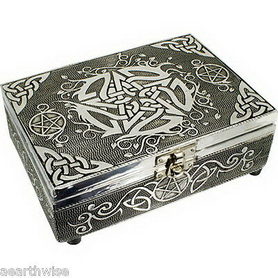 PENTACLE WHITE METAL BOX LINED TAROT BOX Wicca Witch Pagan Goth PENTAGRAM K