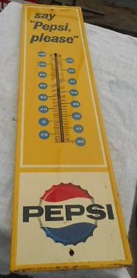 Pepsi Cola Metal Sign Thermometer Very Good Mid 20Th Century #2