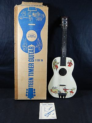 Vintage Emenee Teen Timer Guitar  Toy Great Graphics IN BOX WITH INSTRUCTIONS