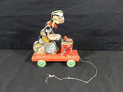 """Antique/vintage-Yr 1937 - #491 Fisher Price """"boom-Boom"""" Popeye Wooden Pull Toy"""