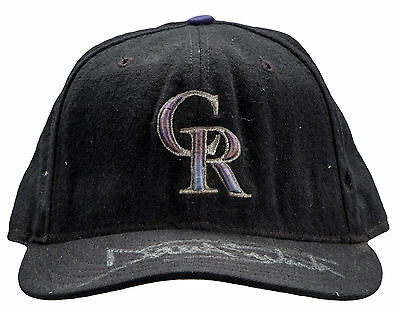 Dante Bichette Signed Game Used Colorado Rockies Cap Brewers Reds Red Sox Angels